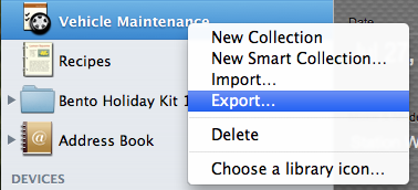 Choose Export from context menu